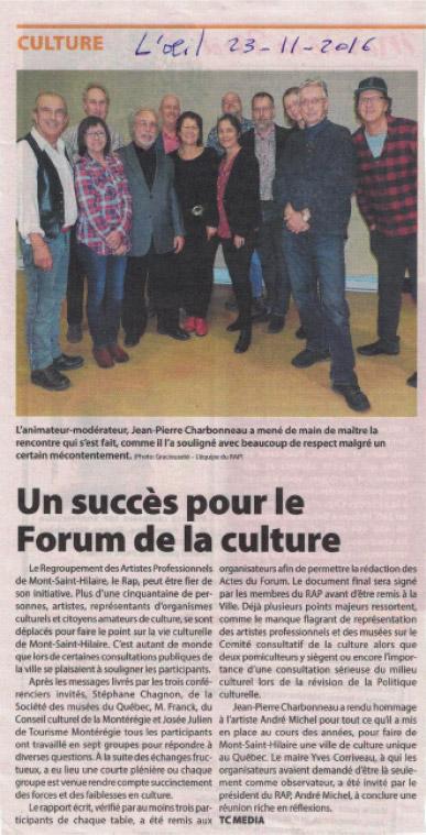 Un succès pour le Forum de la culture