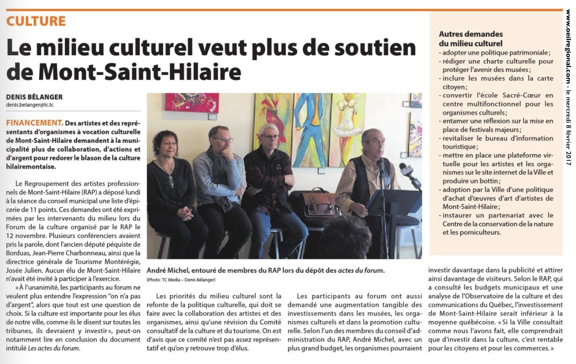 Le milieu culturel veut plus de soutien de Mont-Saint-Hilaire